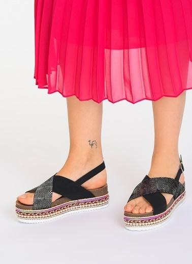 D by Divarese Hasır Sandalet Siyah